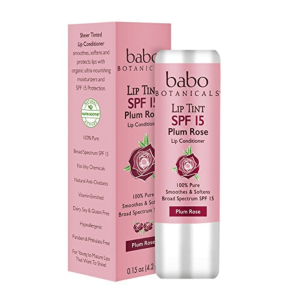 Babo Botanicals SPF 15 Lip Tint Conditioner, Plum Rose