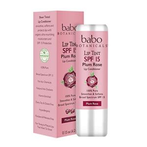 Babo Botanicals SPF 15 Lip Tint Conditioner, Plum Rose